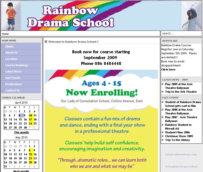 Rainbow drama School Website Image